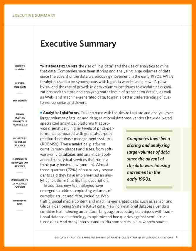 executive summary example research paper Proofreading and explains the requirement for an executive summary a format for the executive summary that accompanies all final drafts is attached this chapter also includes a copy of sf 298, the report documentation page that accompanies all reports sent to the defense technical information center (dtic) all command and staff college master's papers go to dtic, which requires that the document contain sf 298.
