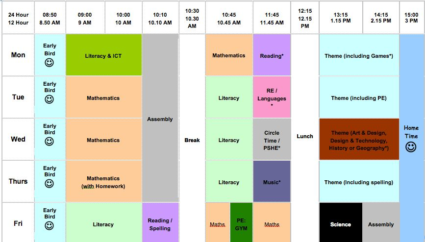 Class Timetable Template - Arch-times
