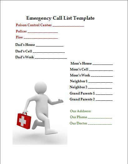 Emergency Phone Number List Template - cv01.billybullock.us