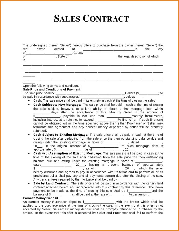 Sales Contract Sample.Sample Contract For Sale And Purchase Form ...