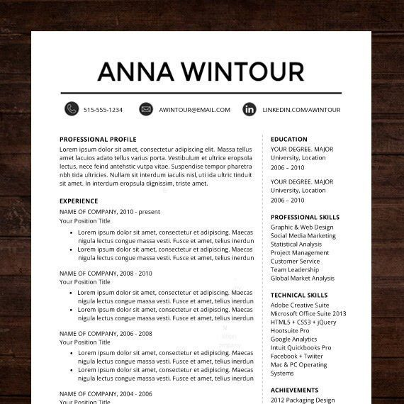 "☆ Instant Download ☆ Resume / CV Template | ""The Wintour ..."