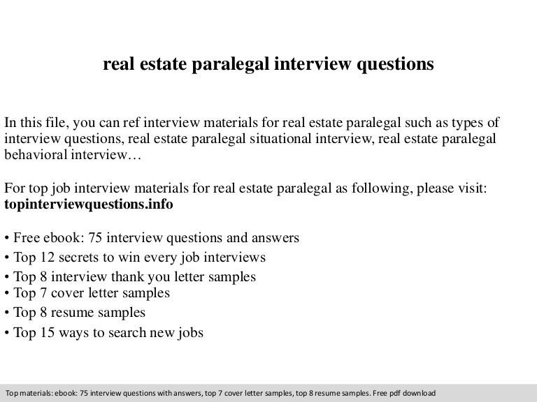 Real estate paralegal interview questions