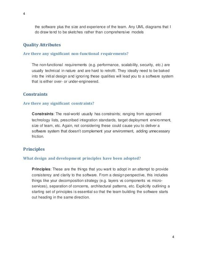 Software architect design documentation template