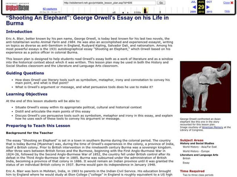 the authors expression of conflicts in shooting an elephant an essay by george orwell For wta tour tennis on the gamecube, a gamefaqs message board topic titled george orwell shooting an elephant rhetorical analysis essay.