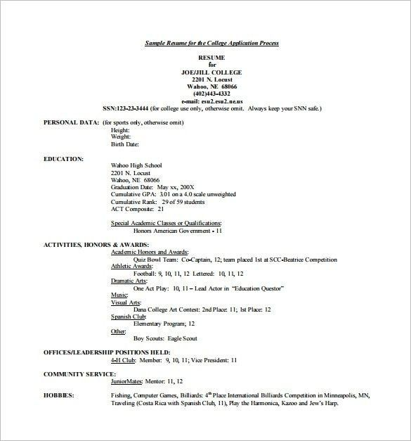 Activities Resume Template For College - Best Resume Collection