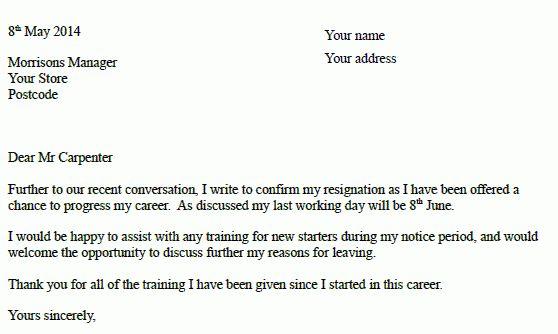 Morrisons Resignation Letter Example - Resignation Letter Examples