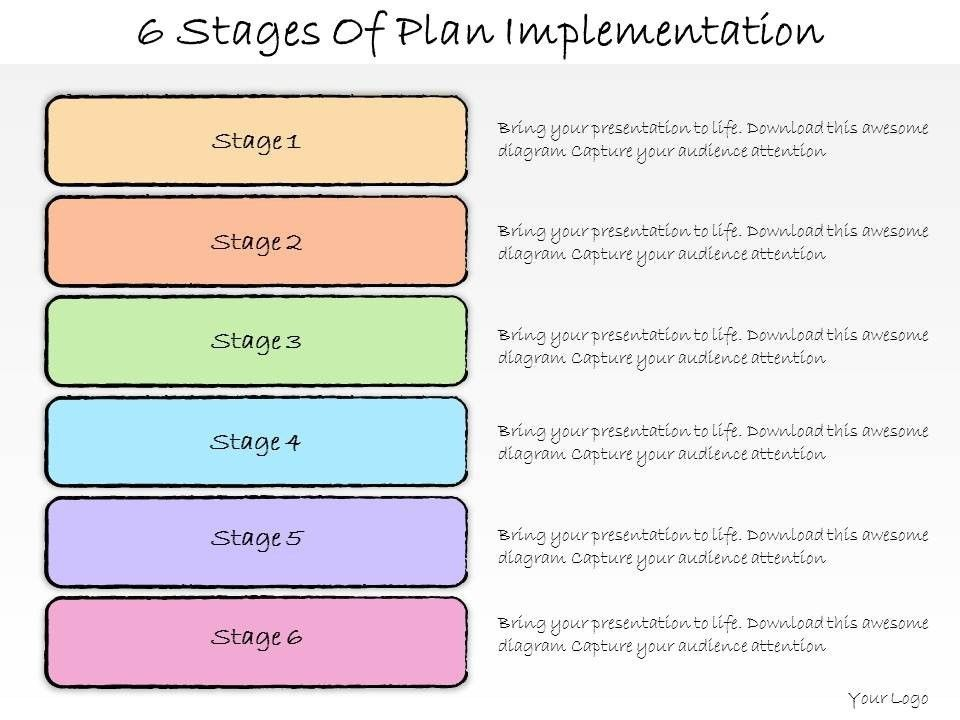 1013 business ppt diagram 6 stages of plan implementation ...