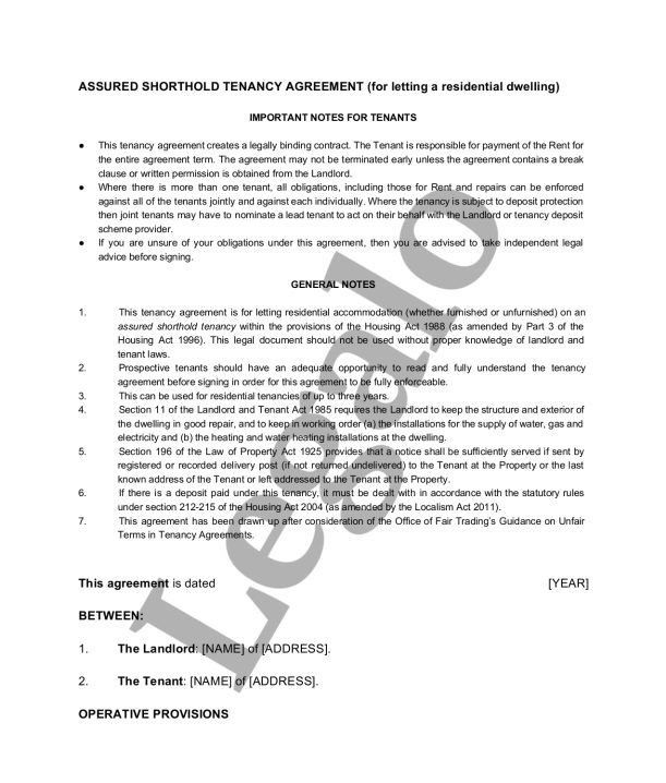 Assured Shorthold Tenancy Agreement Template - Legalo
