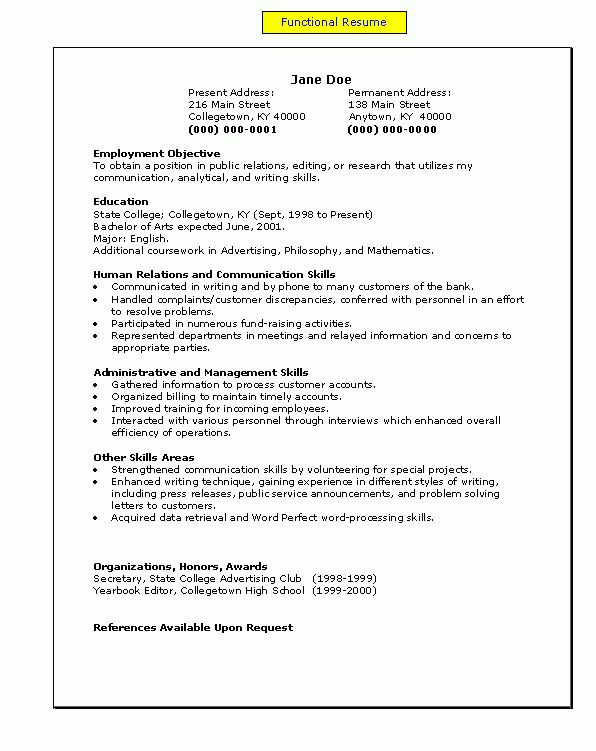 a functional resume | My easy A's to Z's | Pinterest | Functional ...