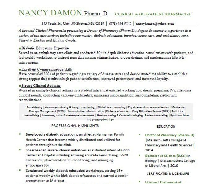 Resume Example - RxElite Resumes