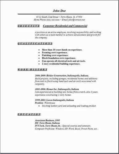Resume for carpenters Jobs - Yakaz