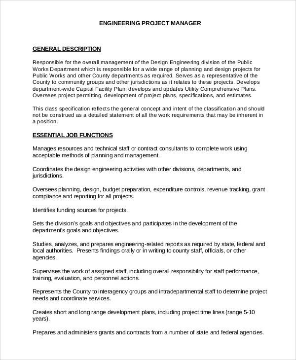 Infrastructure Project Manager Job Description 9 Project Manager – It Project Manager Job Description