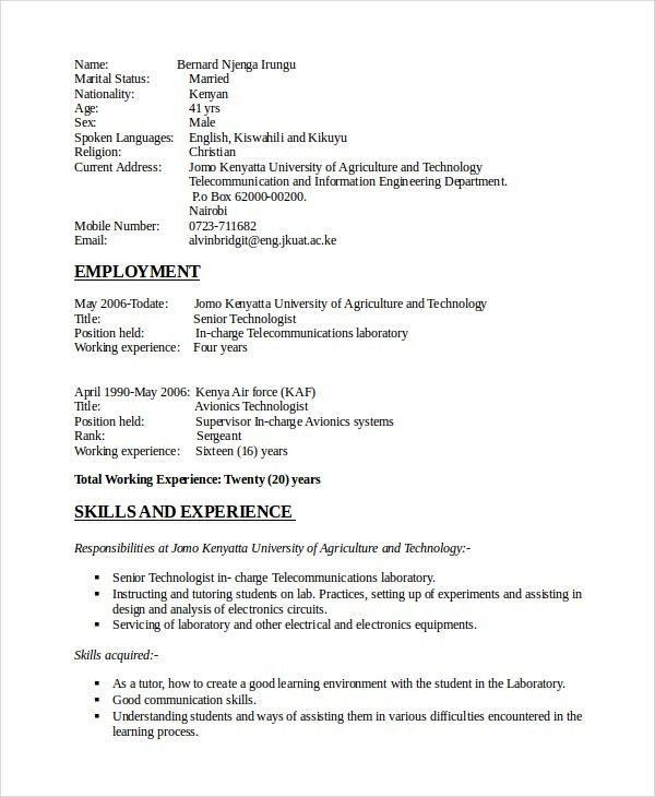 Electronics Resume Template - 8+ Free Word, PDF Document Downloads ...