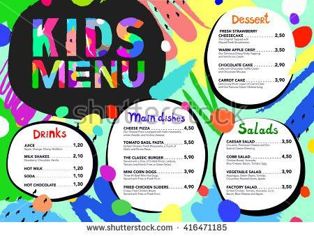 Cute Colorful Kids Meal Menu Design Stock Vector 440561587 ...
