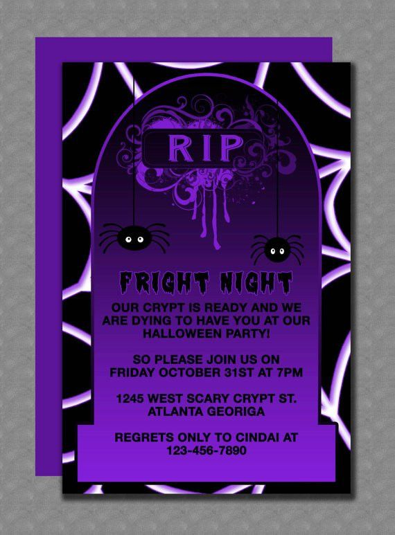 Scary gravestone Halloween party invitation template that is ...