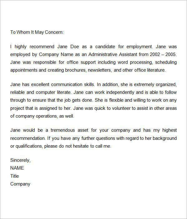 Letter of introduction employee