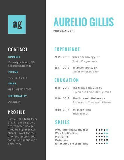 Turquoise and Black Colorful Resume - Templates by Canva