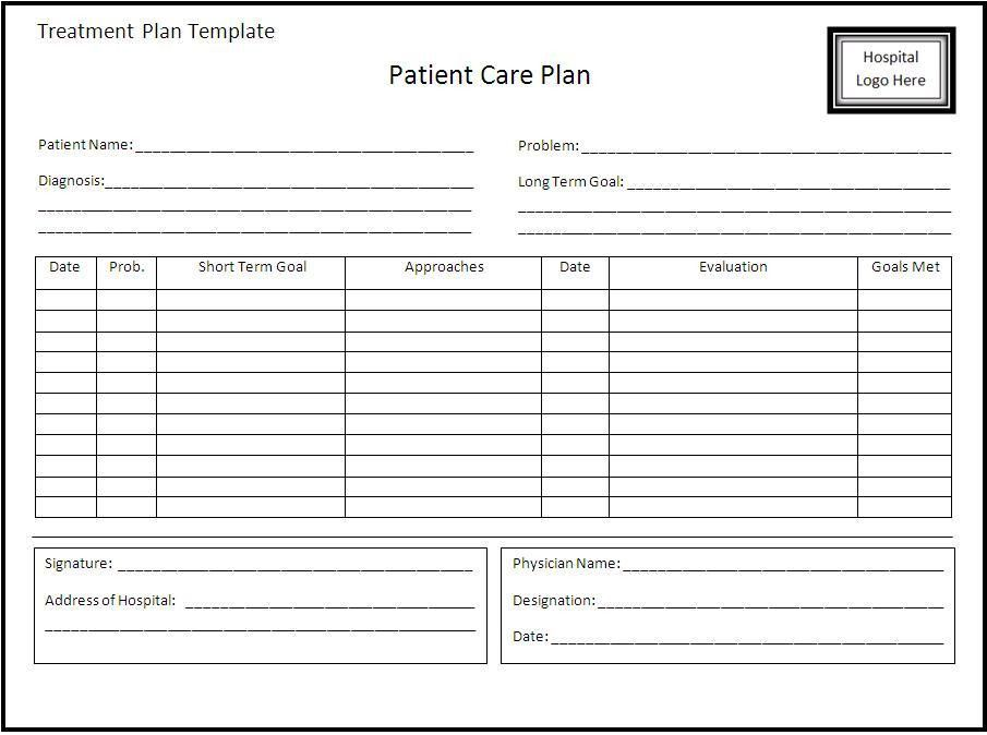 Treatment Plan Template | cyberuse