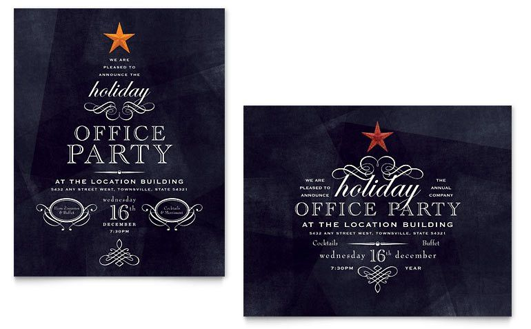 Office Holiday Party Poster Template - Word & Publisher