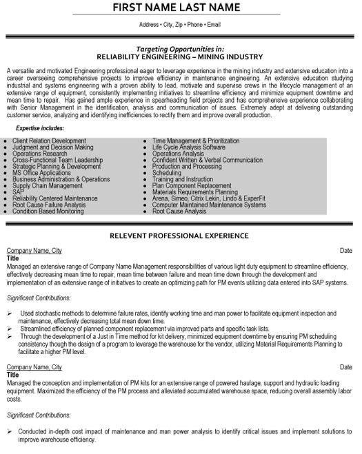 Mining Engineer Sample Resume | haadyaooverbayresort.com