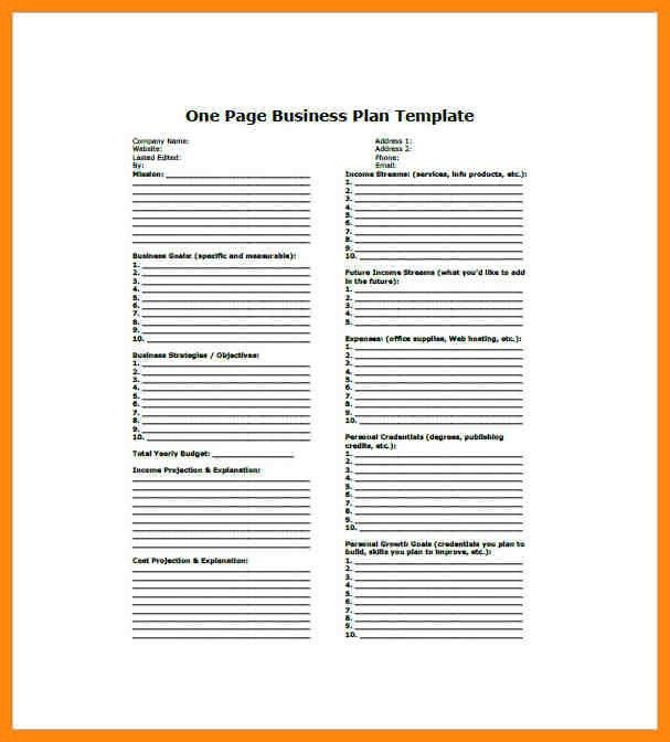 9+ one page business plan template   nurse resumed