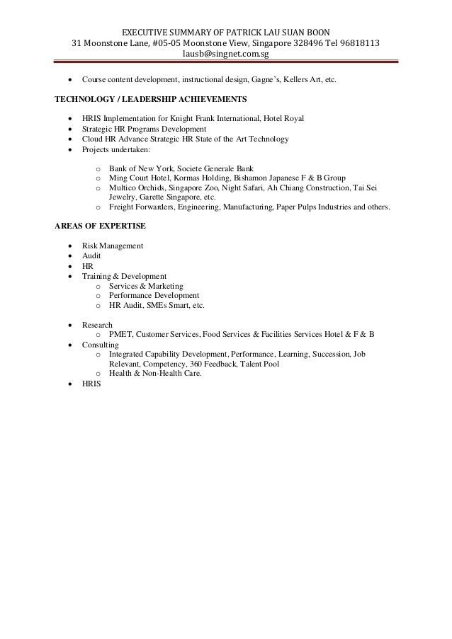 Trainer & Consultant HR Manager Executive Summary-1