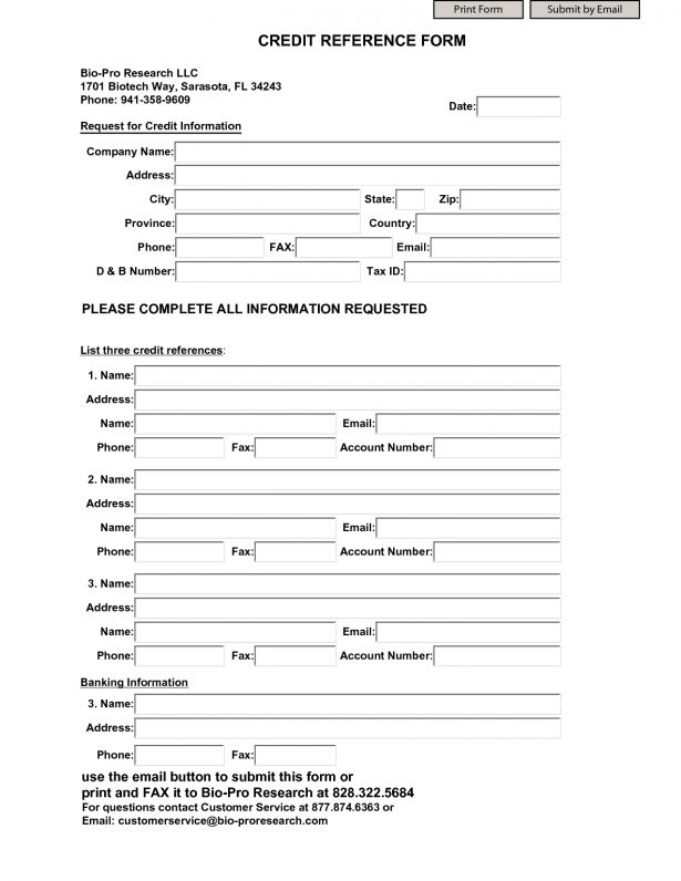 credit reference form