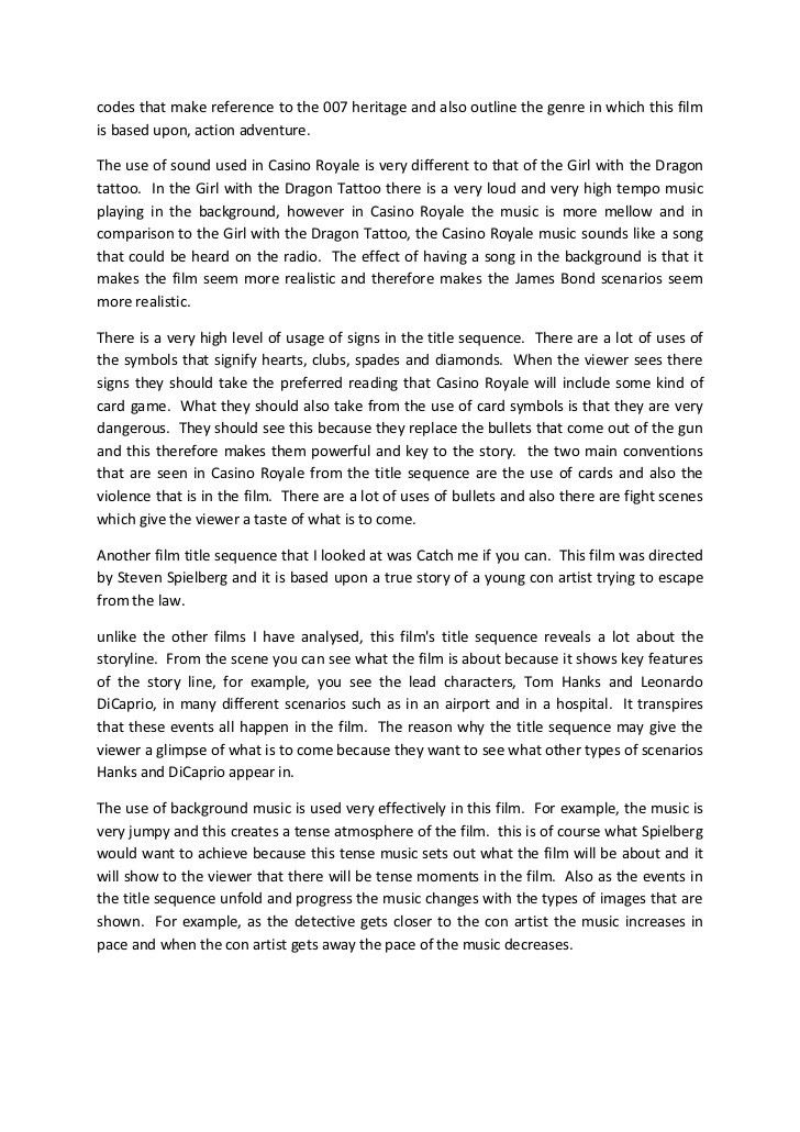 Comparison of 4 title sequences essay