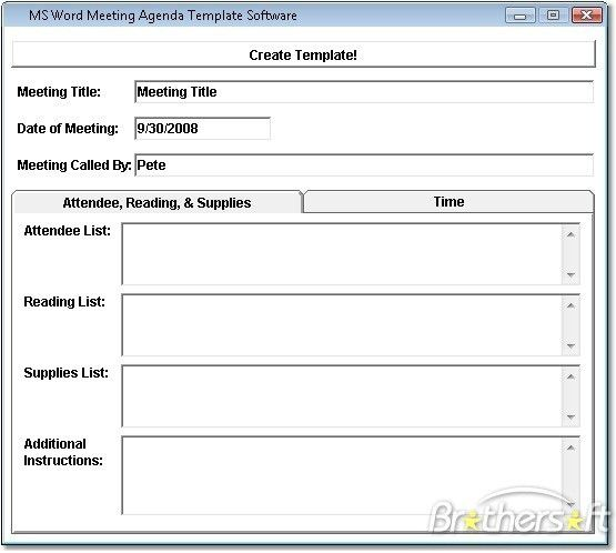 Download Free MS Word Meeting Agenda Template Software, MS Word ...
