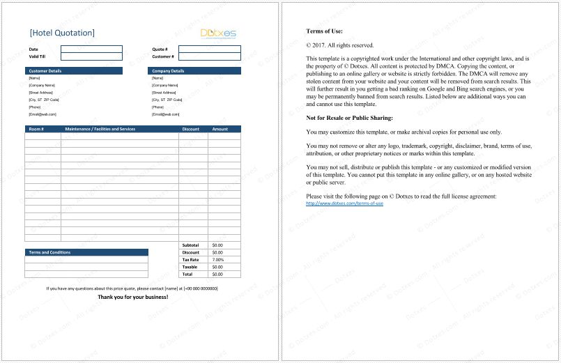 Hotel Quotation Format for Excel | Quotation Templates - Dotxes ...
