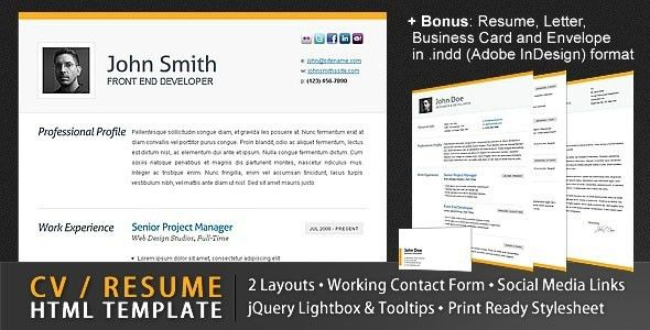 20 Free and Premium Resume/CV HTML Website Templates and Layouts ...