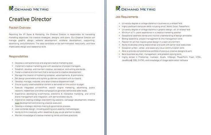 Creative Director Job Description | Experience Resumes