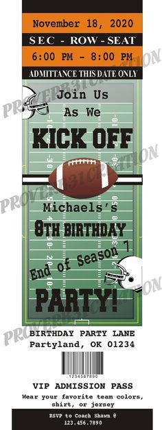 free printable football invitation templates | football ticket ...