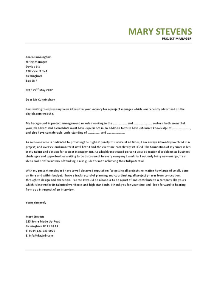 28+ Project Management Cover Letter Template | Project Manager ...