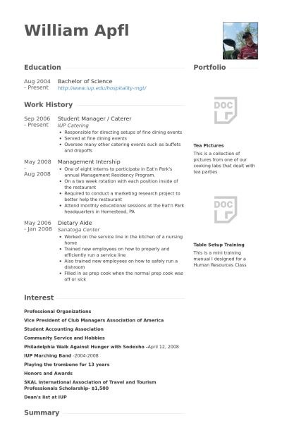 Student Manager Resume samples - VisualCV resume samples database