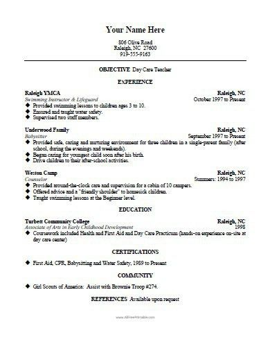 daycare resume professional daycare teacher assistant templates
