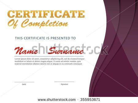 Certificate Templatediploma Layouta4 Size Vector Stock Vector ...