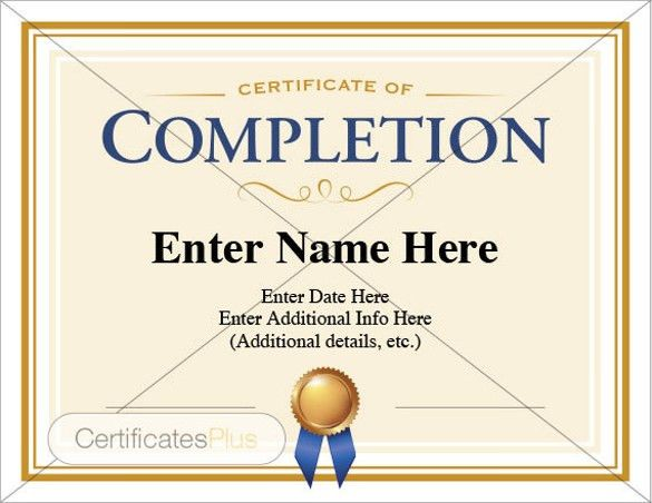 Completion Certificate Template – 33+ Free Word, PDF, PSD, EPS ...