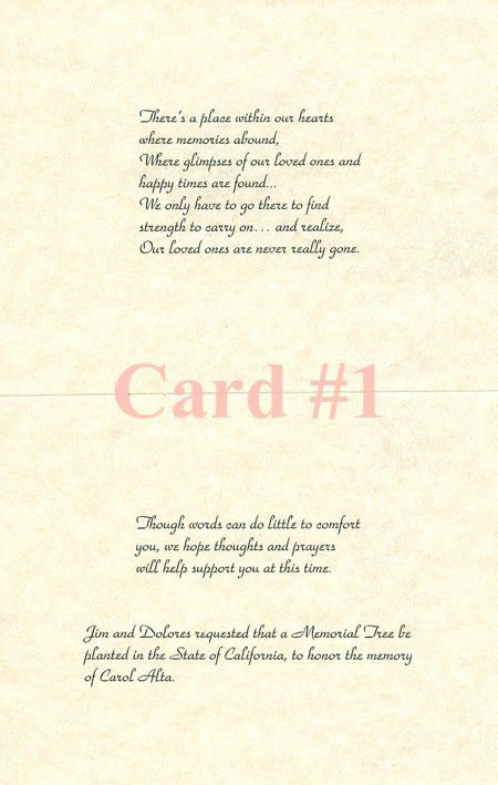 Sample Sympathy Cards - Memorial Trees