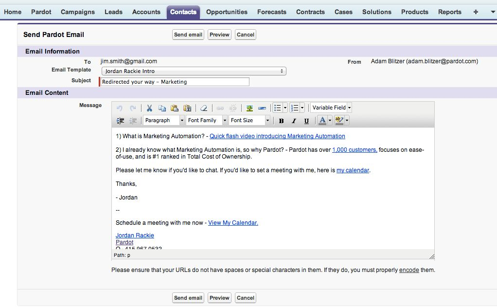 Send tracked Pardot email templates from salesforce.com ...