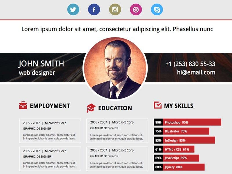 Resume Website Template. Online Cv Resume Website Templates 20 ...