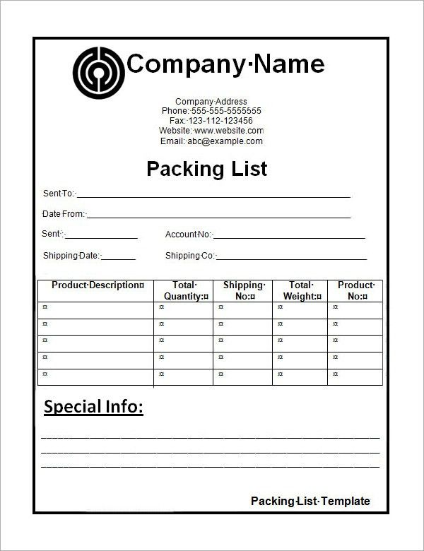 Packing List Template | cyberuse
