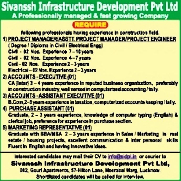 Jobs in Sivanssh Infrastructure Development Pvt Ltd, Vacancies in ...
