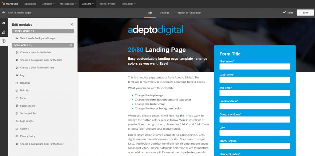 The 20/80 HubSpot Landing Page Template - Adepto Digital