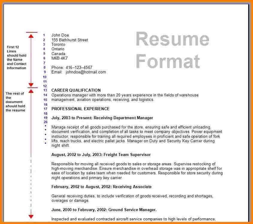 Sample Resume Format In Canada - Gallery Creawizard.com