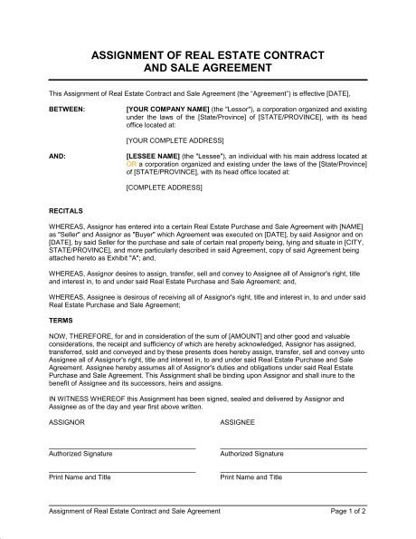 Assignment of Real Estate Contract and Sale Agreement - Template ...