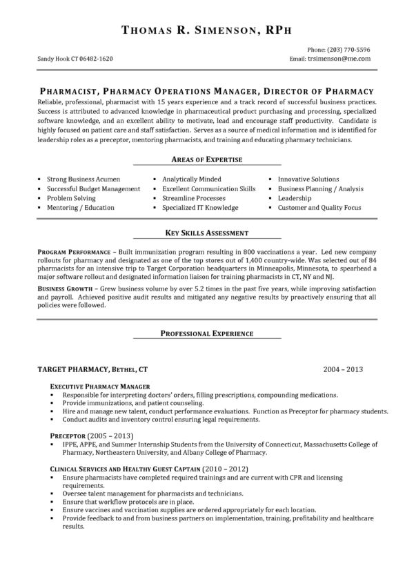 Perfect Resume Example for Pharmacist Job Vacancy Featuring Areas ...