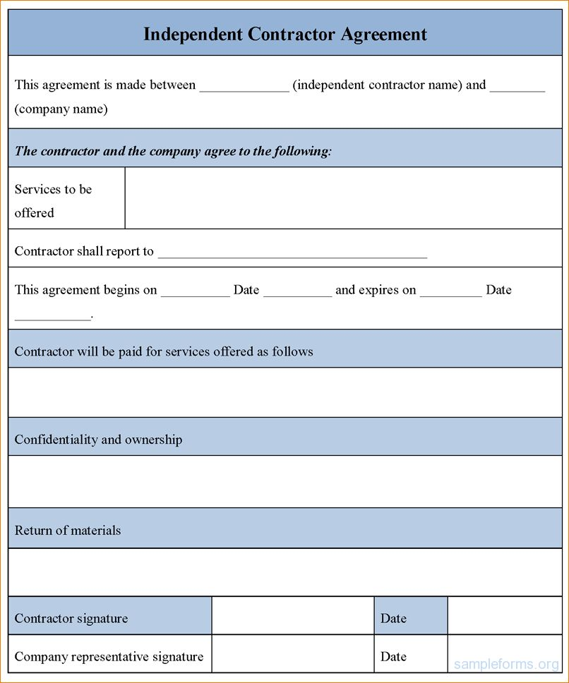6+ Contractor Agreement Form | Timeline Template