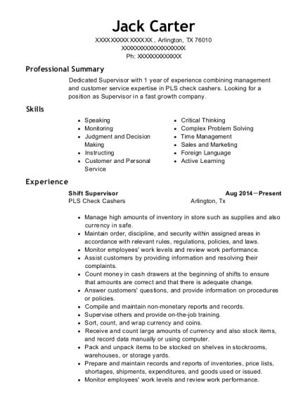 Pls Check Cashers Shift Supervisor Resume Sample - Arlington Texas ...