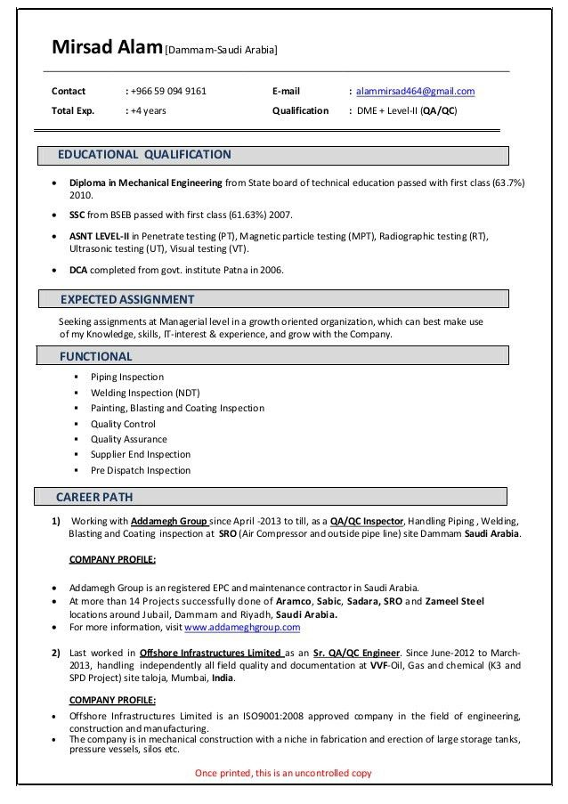Mirsad Alam QA-QC resume